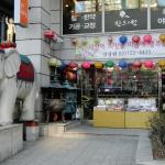 """Rund um den Tempel gibt es viele """"buddhistische"""" Geschäfte."""