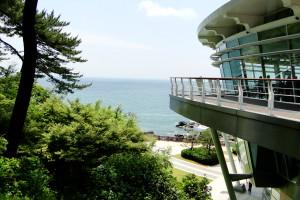 Das APEC-Gebäude direkt neben dem Meer.